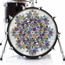 Mother Shape design graphic drum skin on bass drum head by Visionary Drum; hexagon pattern drum art