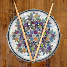 Mother Shape design graphic drum skin on snare drum head by Visionary Drum; triangle drum art