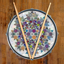 Mother Shape Design Remo-Made Graphic Drum Head on Snare Drum; mandala drum art
