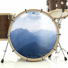 Mountains, Sky, Clouds bass face drum banner installed on drum kit; visionary drum art
