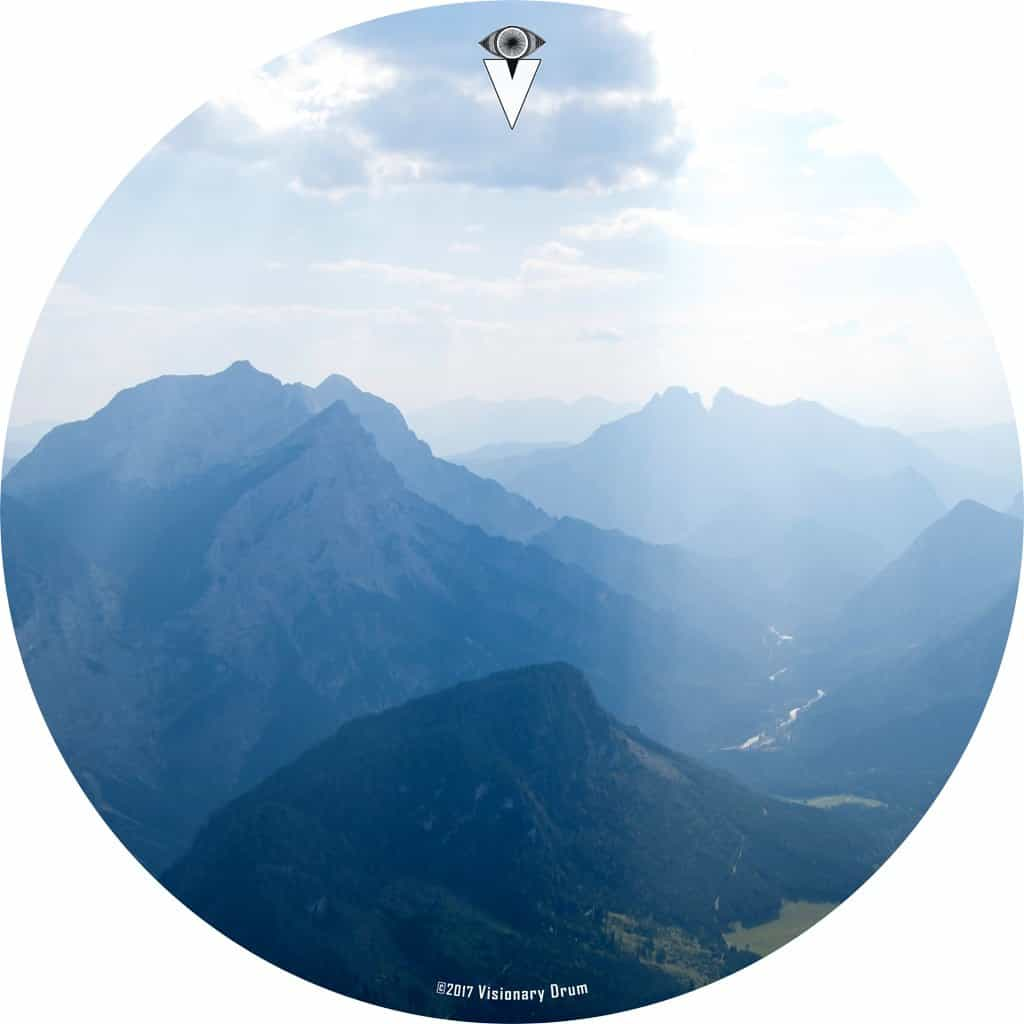 Mountains, Sky, Clouds design graphic drum skin by Visionary Drum; mountain drum art