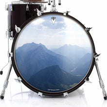 Mountains, Sky, Clouds design graphic drum skin on bass drum head by Visionary Drum; nature drum art