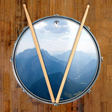 Mountains, Sky, Clouds design graphic drum skin on snare drum head by Visionary Drum; blue drum art