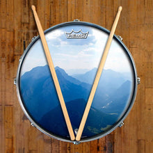Mountains, Sky, Clouds Design Remo-Made Graphic Drum Head on Snare Drum; beautiful landscape drum art