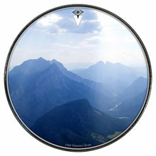 Mountains, Sky, Clouds graphic drum skin installed on bass drum head by Visionary Drum; nature love drum art