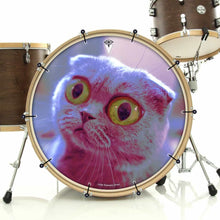 Mr. Peepers bass face drum banner installed on drum kit by Visionary Drum; funny cat drum art