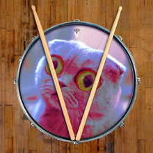 Mr. Peepers design graphic drum skin on snare drum head by Visionary Drum; psychedelic drum art