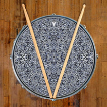 Muon Scan design graphic drum skin on snare drum head by Visionary Drum; black pattern drum art
