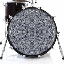 Muon Scan Design Remo-Made Graphic Drum Head on Bass Drum; black pattern drum art