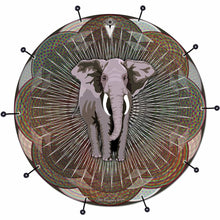 Mystic Elephant bass face drum banner by Visionary Drum; spiritual drum art