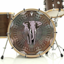 Mystic Elephant bass face drum banner installed on drum kit; visionary drum art