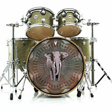 Mystic Elephant graphic drum skin installed on bass drum head and shown on drum kit; meditation drum art