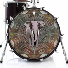 Mystic Elephant design graphic drum skin on bass drum head by Visionary Drum; animal drum art