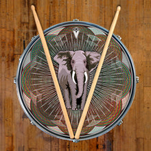 Mystic Elephant design graphic drum skin on snare drum head by Visionary Drum; mandala drum art