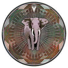 Mystic Elephant graphic drum skin installed on bass drum head by Visionary Drum; trance drum art