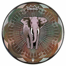 Mystic Elephant Design Remo-Made Graphic Drum Head by Visionary Drum; animal drum art