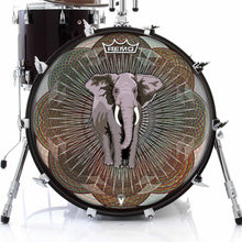 Mystic Elephant Design Remo-Made Graphic Drum Head on Bass Drum; abstract pattern drum art