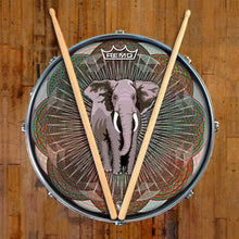 Mystic Elephant Design Remo-Made Graphic Drum Head on Snare Drum; mandala drum art
