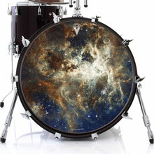 Nebula space graphic art drum skin decal on bass drum
