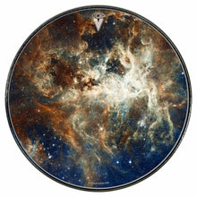 Nebula space graphic drum skin mounted to head