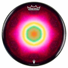 Nebula Spin Design Remo-Made Graphic Drum Head by Visionary Drum; pink circle drum art