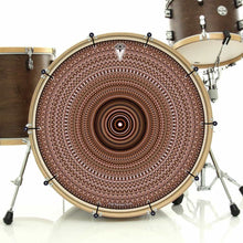 Brown One for the Everything bass face drum banner installed on drum kit; visionary drum art