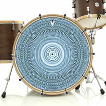 Blue One for the Everything bass face drum banner installed on drum kit; meditation drum art