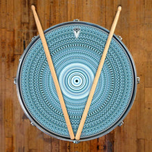 Blue One for the Everything design graphic drum skin on snare drum head by Visionary Drum; spiritual drum art