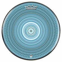 Blue One for the Everything Design Remo-Made Graphic Drum Head by Visionary Drum; blue pattern drum art