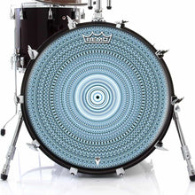Blue One for the Everything Design Remo-Made Graphic Drum Head on Bass Drum; geometric drum art