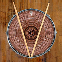 Brown One for the Everything design graphic drum skin on snare drum head; visionary drum art
