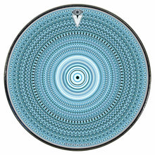 Blue One for the Everything graphic drum skin installed on bass drum head; visionary drum art
