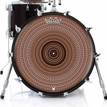 Brown One for the Everything Design Remo-Made Graphic Drum Head on Bass Drum; mandala drum art