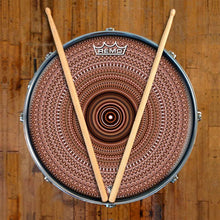 Brown One for the Everything Design Remo-Made Graphic Drum Head on Snare Drum; brown pattern drum art