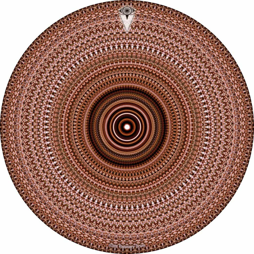 Brown One for the Everything design graphic drum skin by Visionary Drum; geometric pattern drum art