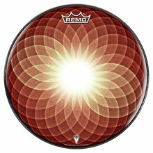 Brown Opening Up Design Remo-Made Graphic Drum Head by Visionary Drum; geometric drum art