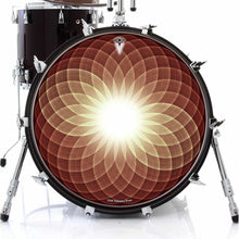 Brown Opening Up graphic drum skin on bass drum head by Visionary Drum; spiritual drum art
