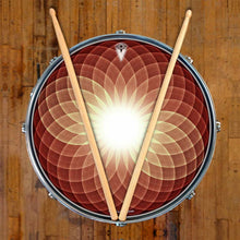 Brown Opening Up graphic drum skin on snare drum head by Visionary Drum; geometric drum art