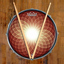 Brown Opening Up Design Remo-Made Graphic Drum Head on Snare Drum; meditation drum art