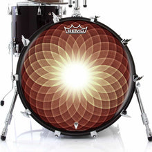 Brown Opening Up Design Remo-Made Graphic Drum Head on Bass Drum; circle pattern drum art