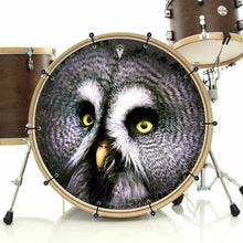 Owl bass face drum banner installed on drum kit by Visionary Drum; wisdom drum art