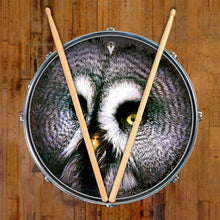 Owl design graphic drum skin on snare drum head by Visionary Drum; owl eye drum art