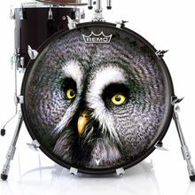 Owl Design Remo-Made Graphic Drum Head on Bass Drum; owl face drum art
