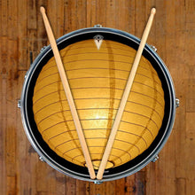 Paper Lantern graphic drum skin on snare drum by Visionary Drum; yellow drum art