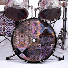 Particle and Wave graphic drum skin installed on bass drum head and shown on drum kit; abstract drum art