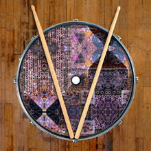 Particle and Wave Design Remo-Made Graphic Drum Head on Snare Drum; abstract drum art