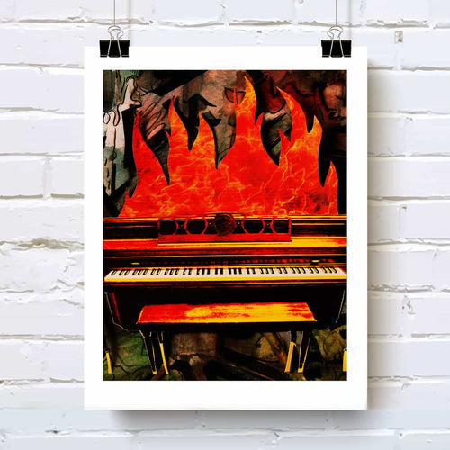 Piano fire art print for music lovers and drummers!