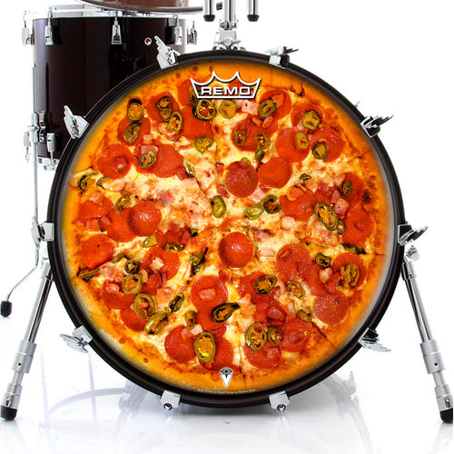Pepperoni Pizza Visionary Drum Remo-made graphic drum head on bass
