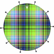 Plaid bass face drum banner by Visionary Drum; striped drum art