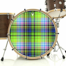 Plaid bass face drum banner installed on drum kit by Visionary Drum; vintage drum art